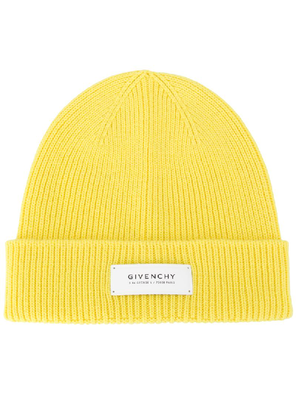 Givenchy Logo-patch Beanie In Yellow