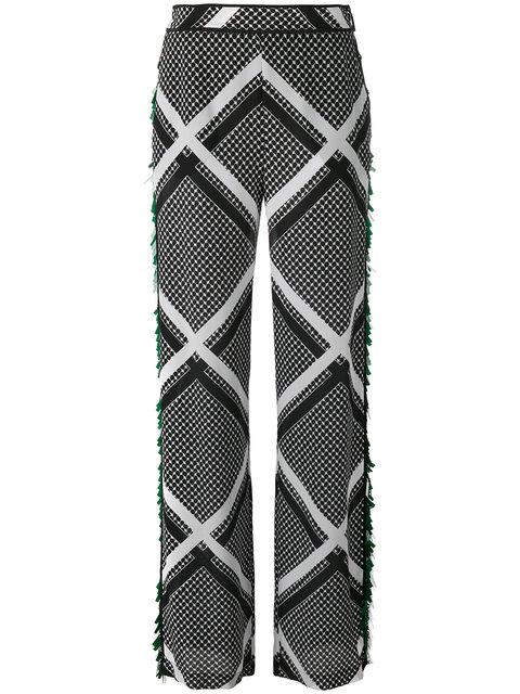 Msgm Tassel Trim Printed Trousers In Black
