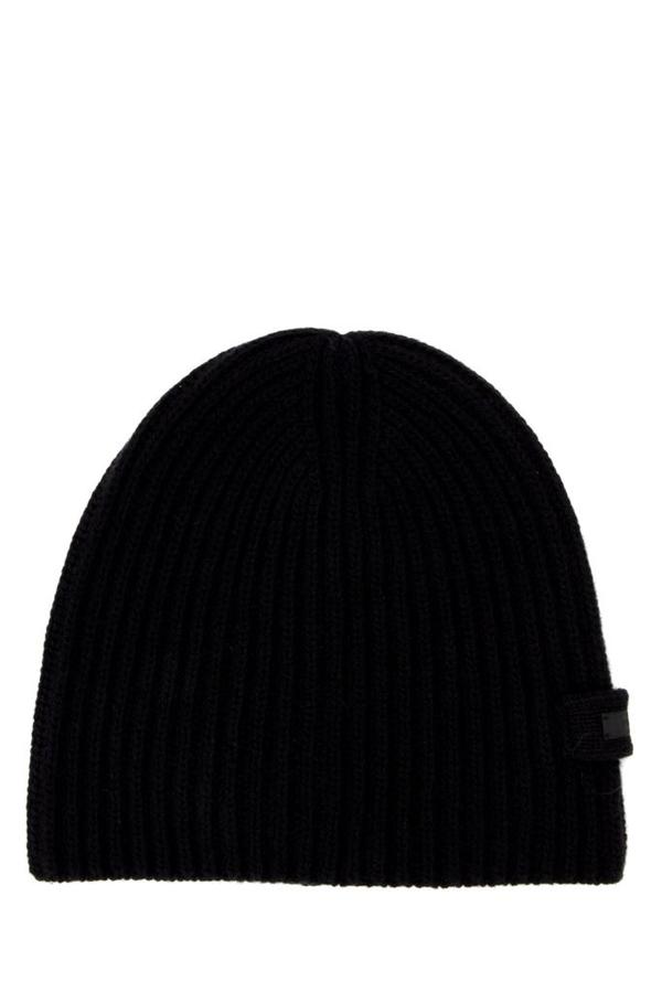 Prada Ribbed Knitted Beanie In Black