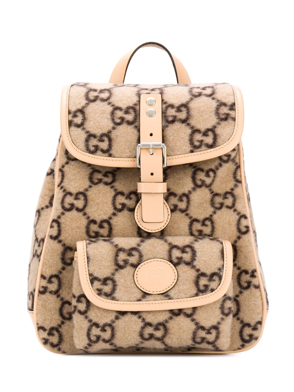 Gucci Kids' Gg Wool Jacquard Backpack In Neutrals