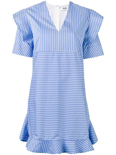 Msgm Striped Ruffled Dress