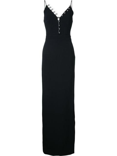 David Koma Buttoned V-Neck Long Dress - Black