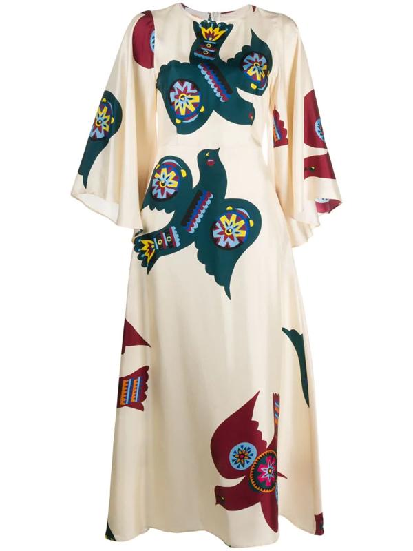 La Doublej Sorella Flared-sleeves Dress In Neutrals