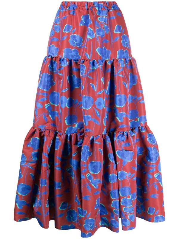 La Doublej Floral Print Big Skirt In Red