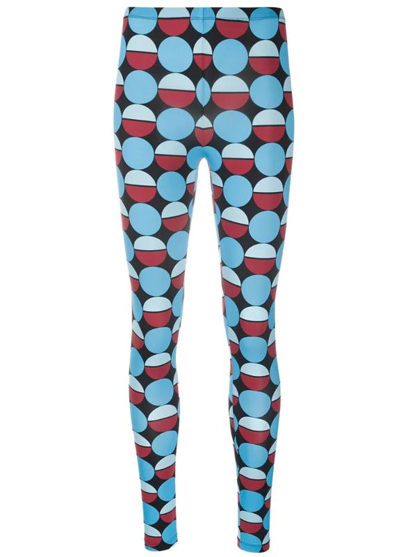 La Doublej Geometric Print Stretch Leggings In Blue