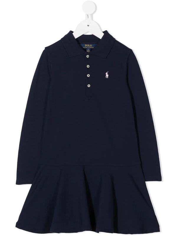 Ralph Lauren Kids' Embroidered Logo Polo Dress In Blue