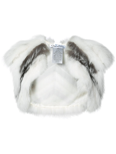 Oscar De La Renta Striped Fox Fur Bolero In Arctic Marble