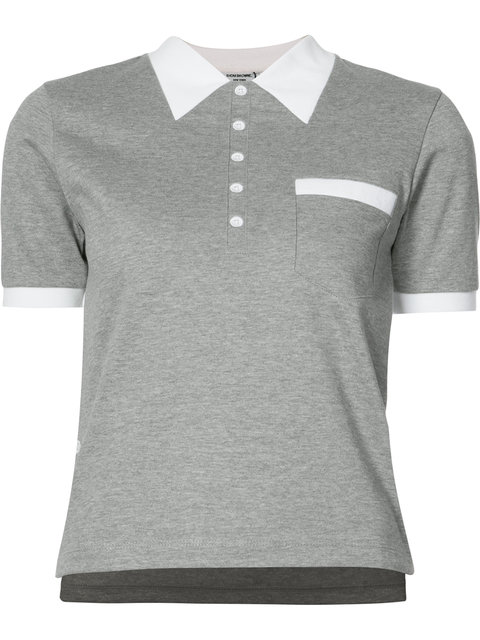 Thom Browne Cotton Jersey Polo Shirt In Grigio