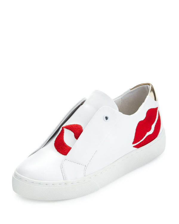 Here/Now Scarlett Lip-Embroidered Sneakers, White/Red