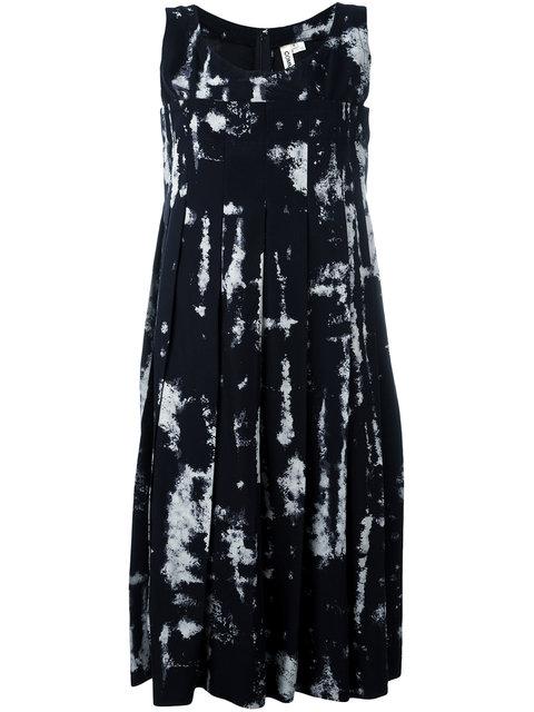 Comme Des GarÇOns Bleached-Print Woven Dress In Navy