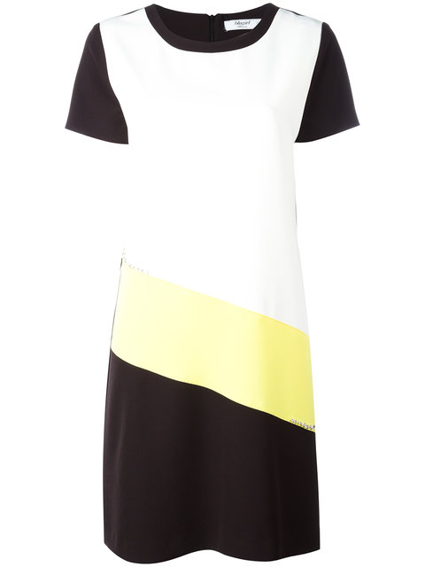 Blugirl Short Dress In White- Black - Yellow