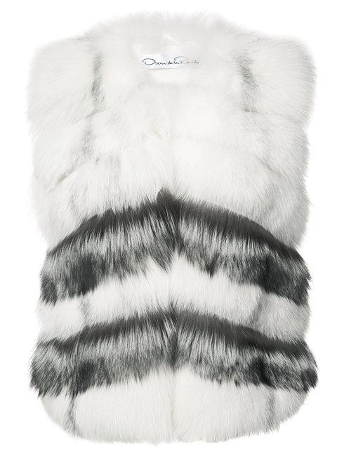 Oscar De La Renta Chevron Pattern Sleeveless Jacket In Arctic Marble