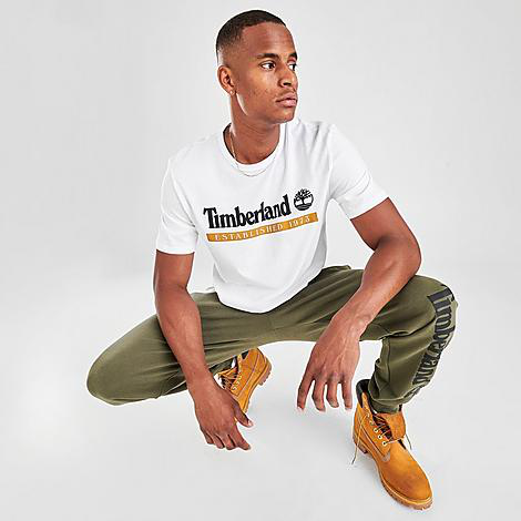 Timberland Men's Established 1973 T-shirt In Wheat Boot-white