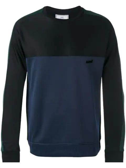 Ami Alexandre Mattiussi Sweatshirt In Colour-Block-Optik - Schwarz In Black