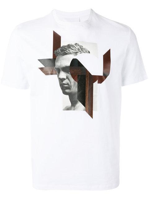 Neil Barrett Modernist Steve Mcqueen Print T-Shirt In White