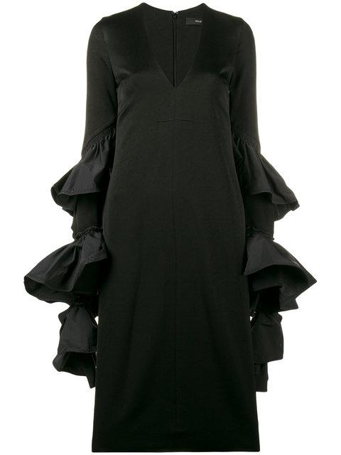 Ellery Molotov Ruffle Sleeve Dress In Black