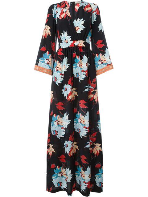 Etro Embellished Floral-print Silk Maxi Dress In Llack