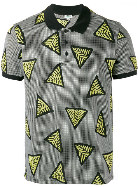 Kenzo Printed Cotton Polo Shirt In Multicolored