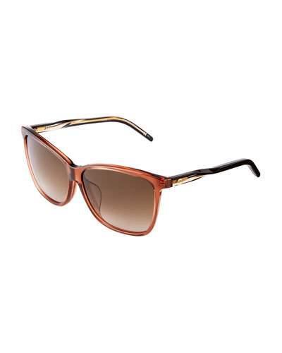 Gucci Square-Frame Plastic Sunglasses, Brown
