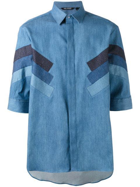 Neil Barrett 'Retro Modernist' Panel Denim Shirt In Blue