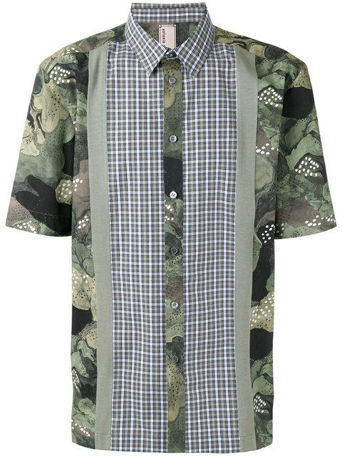 Antonio Marras Floral Checkered Shirt In Military Green