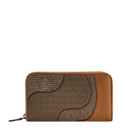 Bottega Veneta Continental Patchwork Zip-Around Wallet In Brown