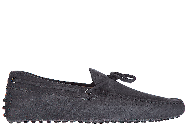 Tod's Men's Suede Loafers Moccasins Laccetto New Gommini 122 In Grey