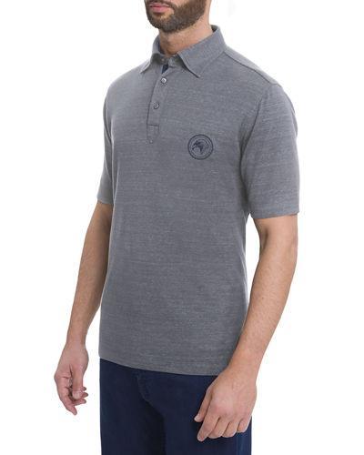 Stefano Ricci Eagle-Stitch Linen-Cotton Polo Shirt In Gray