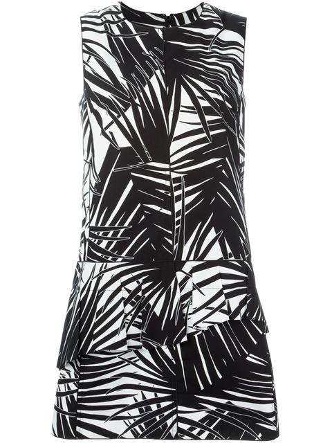 Marc Jacobs Palm-print Sleeveless Cotton-poplin Dress In Black Print