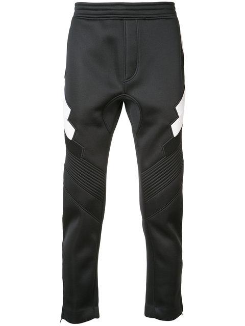 Neil Barrett Contrast Detail Track Pants In Black