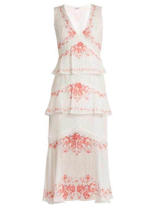 Vilshenko Greta Floral-Print Tiered Silk Midi Dress In White Multi