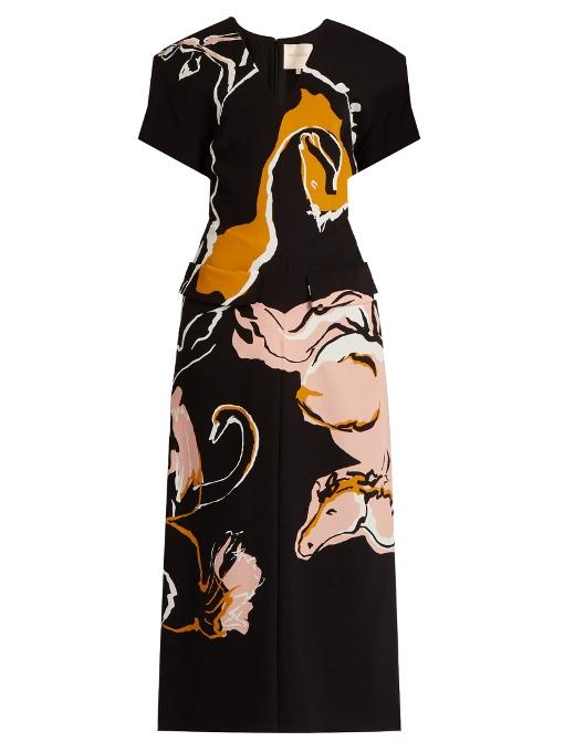 Roksanda Akemi Horse-Print Silk Midi Dress In Black