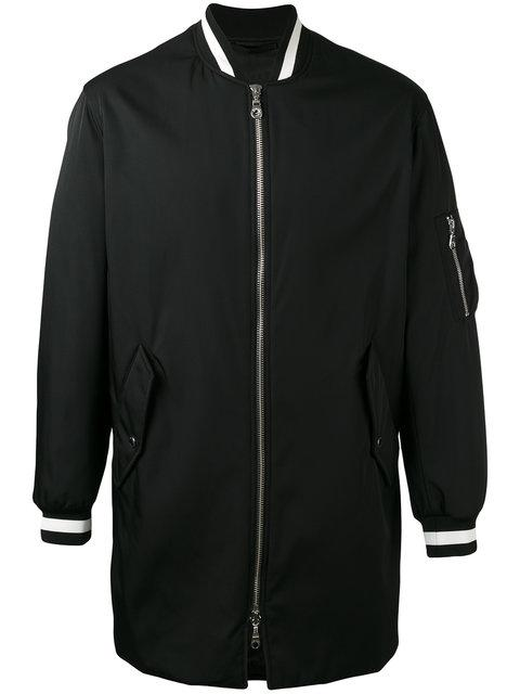 Kenzo Tech Cotton Long Bomber Jacket In Black