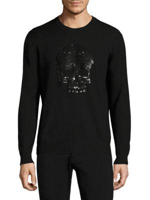 Markus Lupfer Sequin Skull Printed Merino Wool Sweater In Black