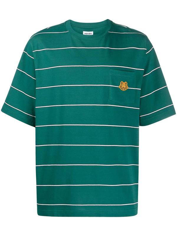 Kenzo Oveersize Stripe Pocket T-shirt In 73 Duck Blu