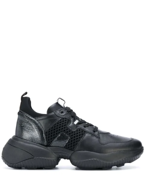 Hogan Interaction Model Sneaker In Black Leather