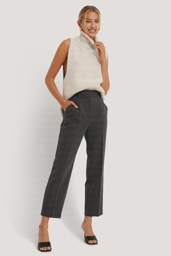 Na-kd Reborn High Rise Cropped Suit Pants Grey In Dark Grey
