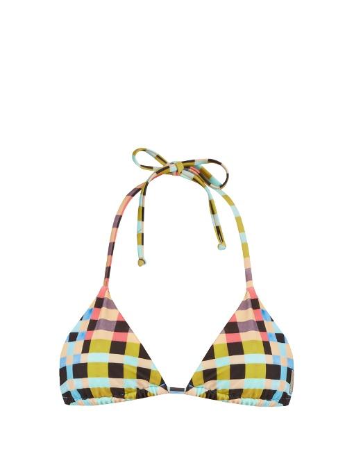 Mara Hoffman Plaid Mustard-Print Halterneck Bikini Top In Multi