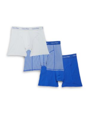 Calvin Klein Stretchable Cotton Briefs/Pack Of 3 In Amp Blue