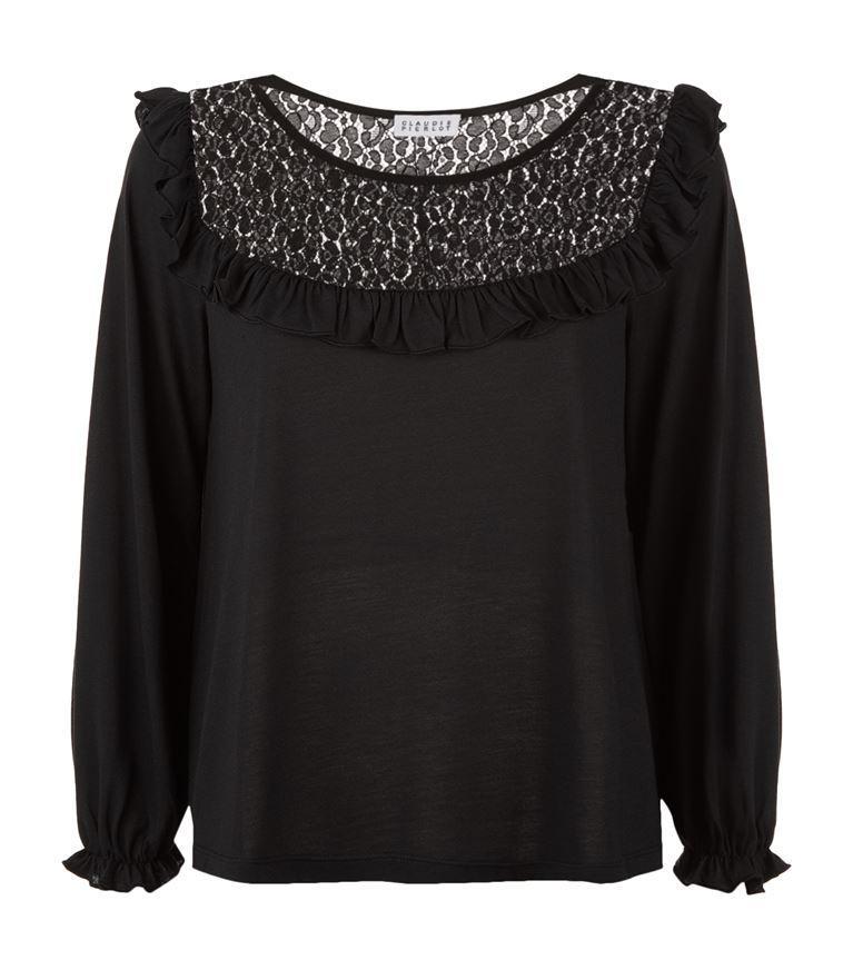 Claudie Pierlot Tipi Lace-Detail Jersey Top In Noir