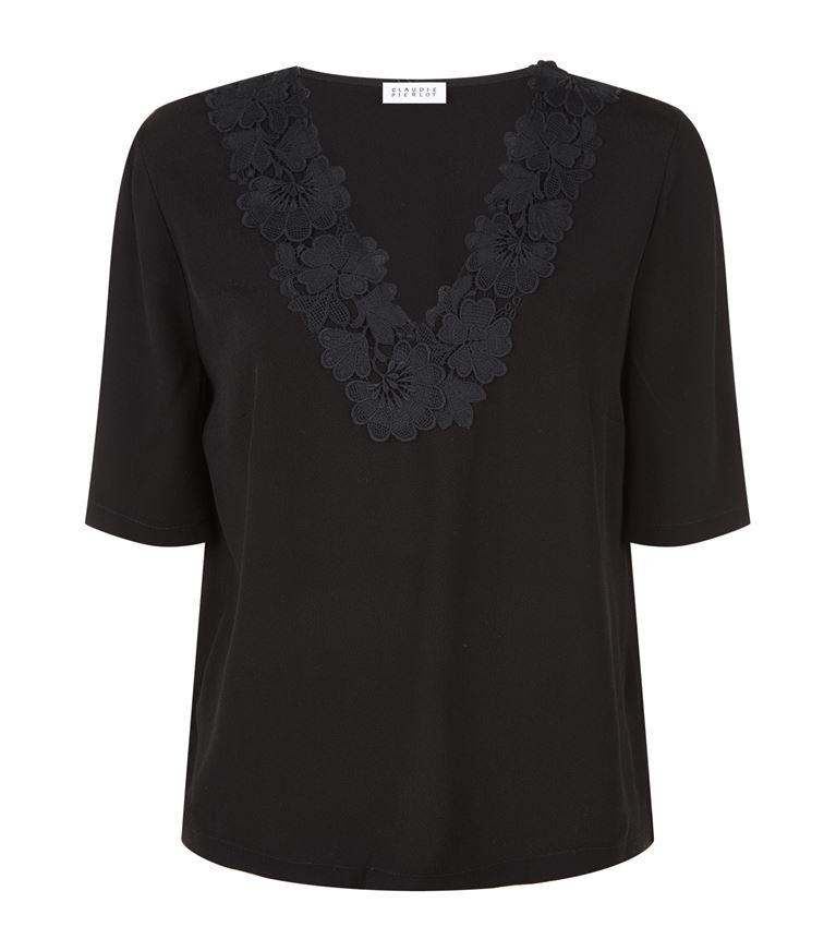 Claudie Pierlot Bavard Lace-Detail Crepe Top In Noir