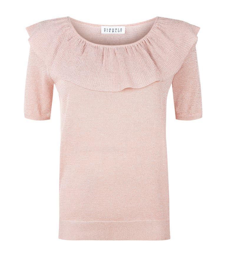 Claudie Pierlot Miami Frill-Detail Metallic-Knit Top In Blush