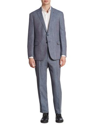Ralph Lauren Textured Wool Blend Suit In Light Blue
