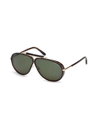 Tom Ford Cedric Acetate Aviator Sunglasses, Tortoiseshell