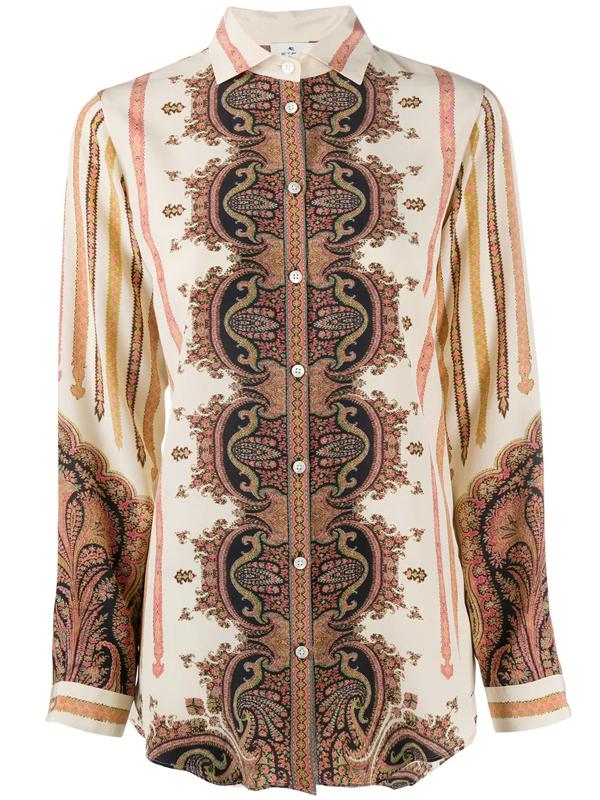 Etro Camicia In Seta Con Stampa Paisley In Ivory
