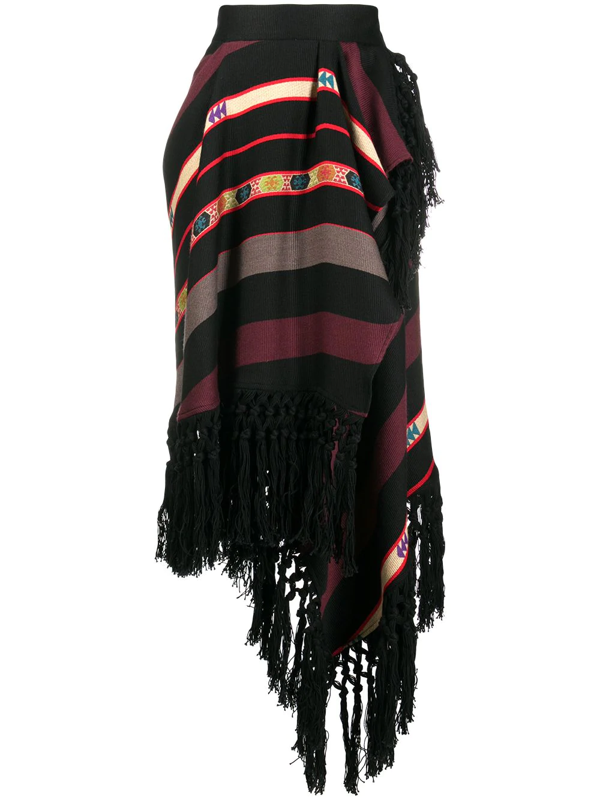 Etro Flared Skirt In Black With Multicolor Stripes