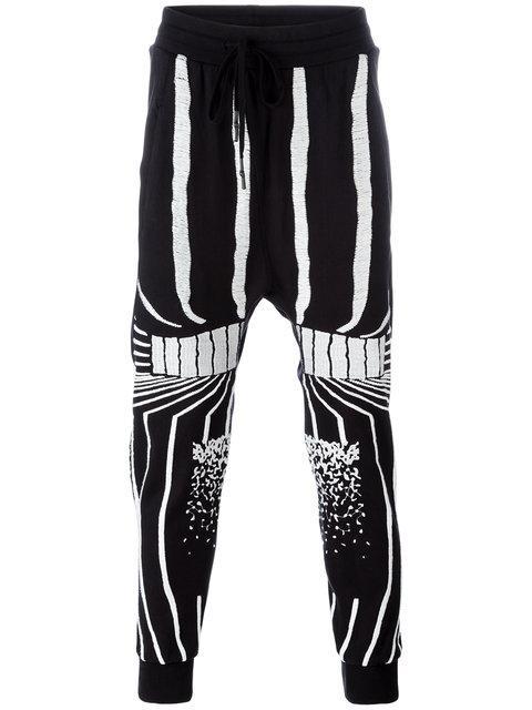 11 By Boris Bidjan Saberi Stripe Patterns Sweatpants In Black