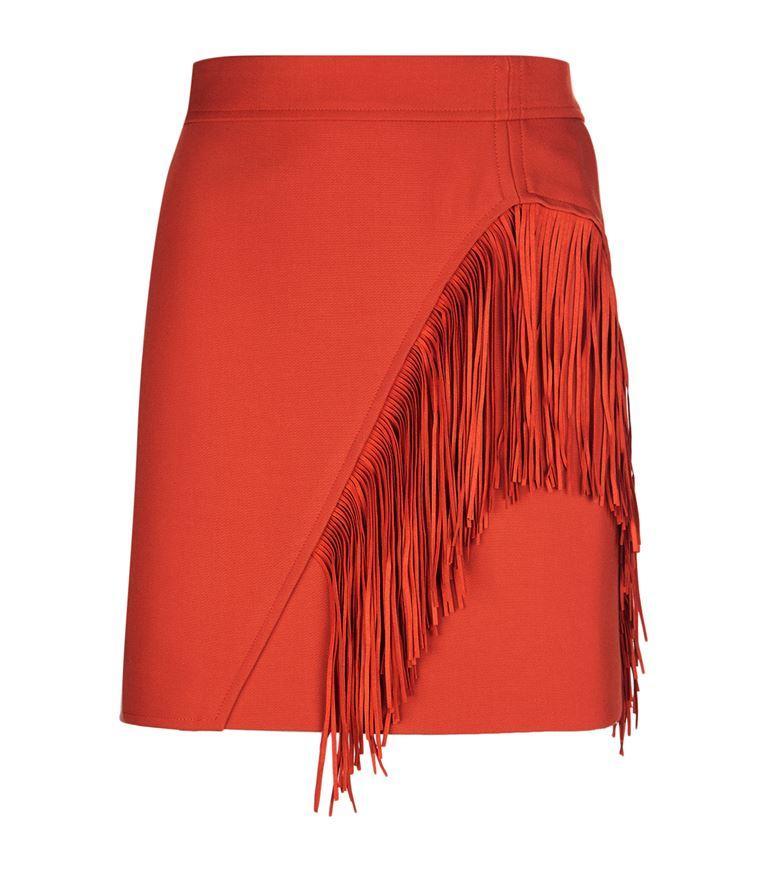 Maje Jano Fringed Skirt In Terracotta