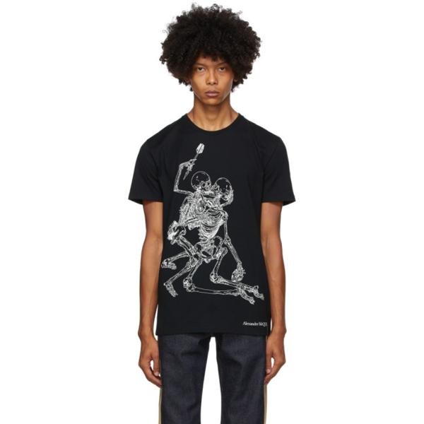 Alexander Mcqueen Lovers Skeleton-print Cotton T-shirt In 0901 Blkmix