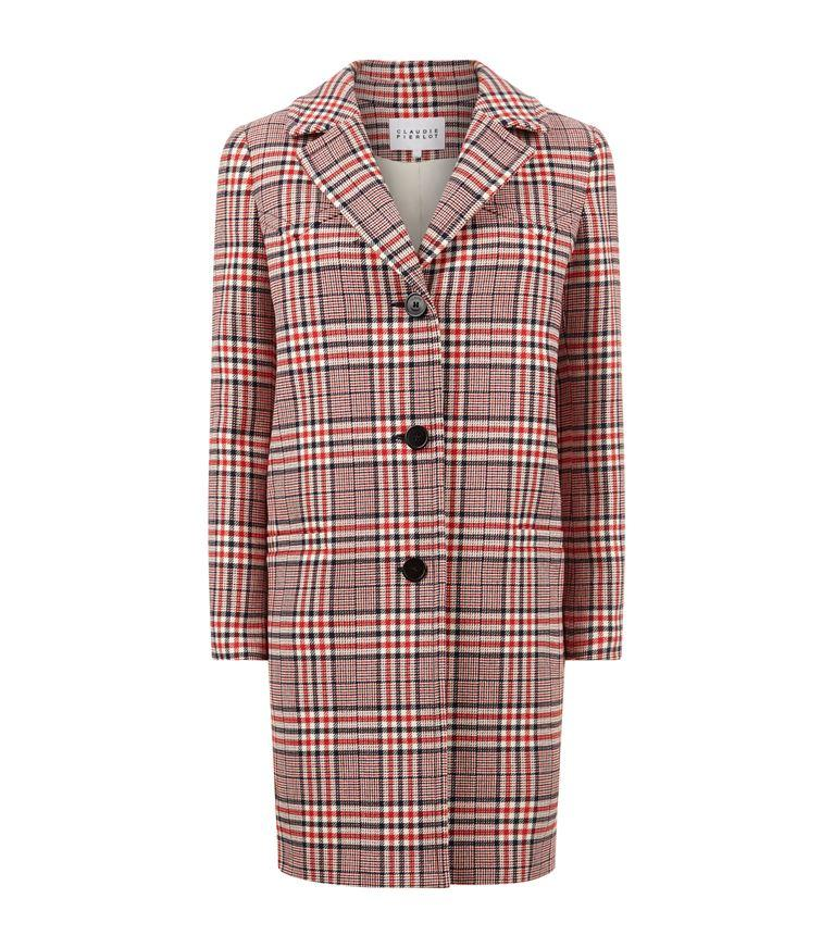 Claudie Pierlot Giant Checked Cotton-Blend Coat In Ruby